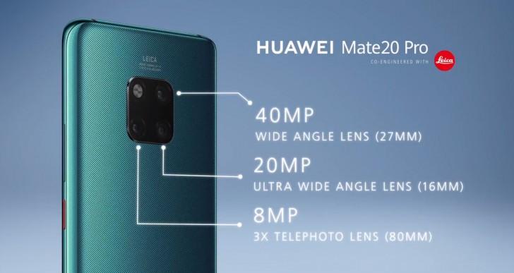 Muonekano wa kamera za Huawei Mate 20 Pro