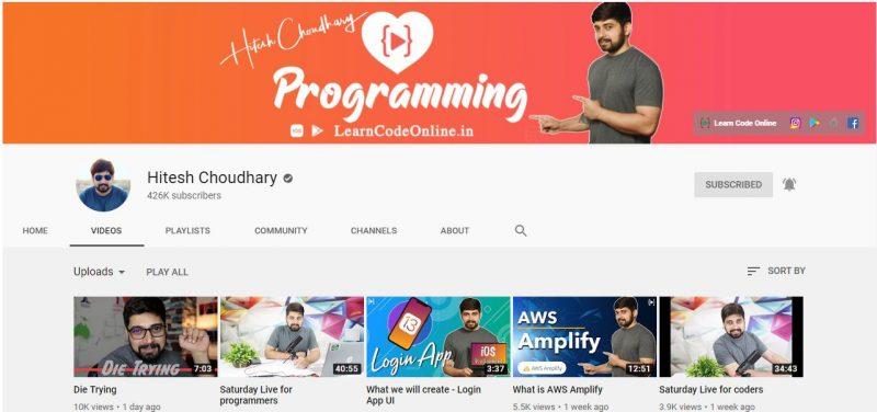 YouTube Channel za Kujifunza Kutengeneza Apps na Website