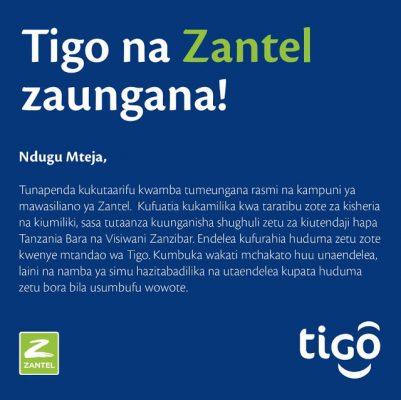 Hatimaye Kampuni za Simu za Tigo na Zantel Zaungana Rasmi