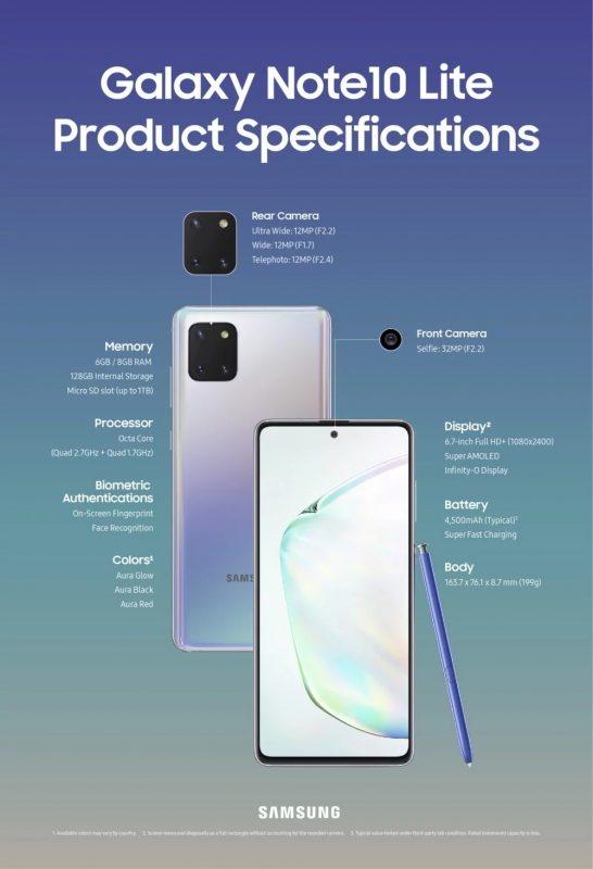 Hizi Hapa Sifa na Bei ya Samsung Galaxy Note 10 Lite