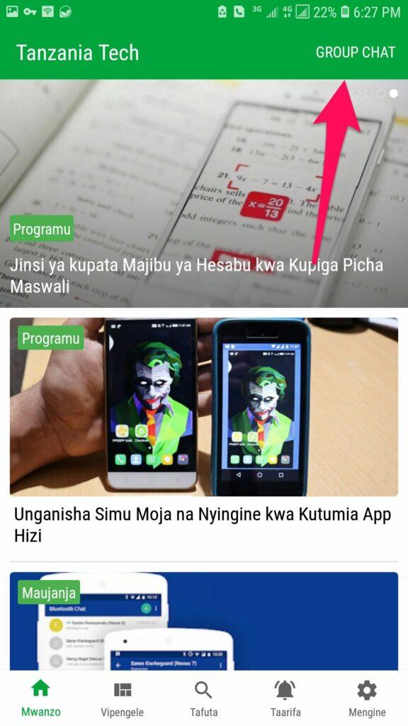 Sehemu ya Group Chat Kupitia App ya Tanzania Tech