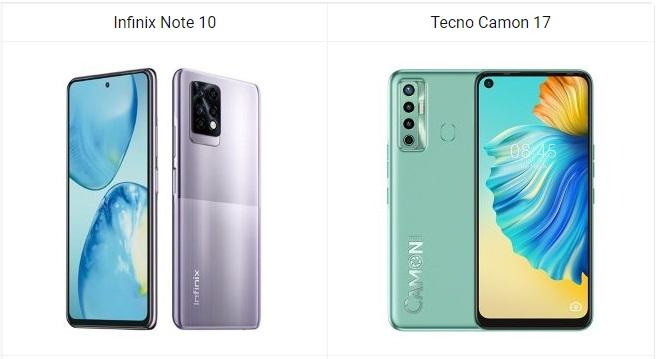 Simu Bora Kati ya Infinix Note 10 na Tecno Camon 17